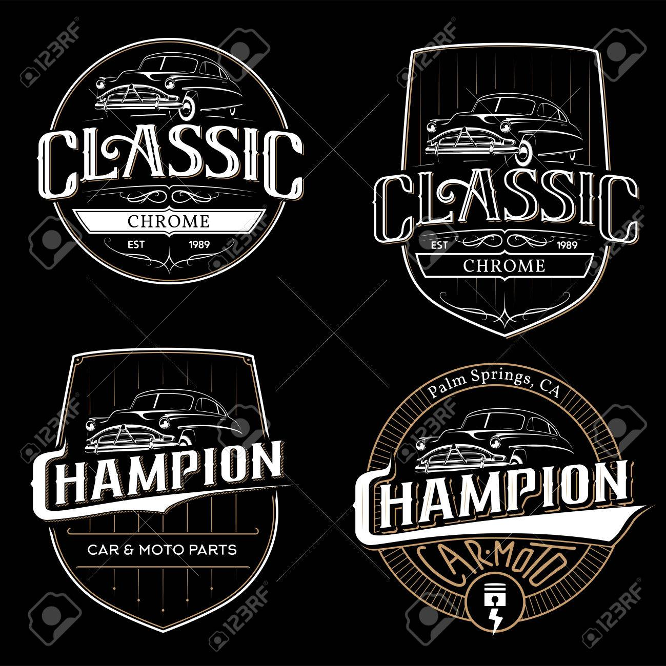 Set Of Old Classic Car Typography Emblems, Badges And Logo On ...