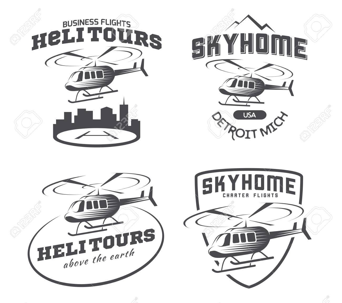 helicopter logo badges and emblems royalty free cliparts vectors