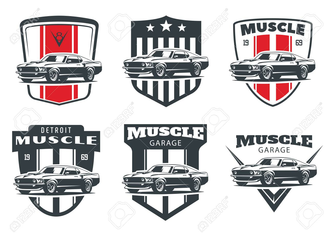 Set Of Classic Muscle Car Logo Emblems And Badges Isolated On