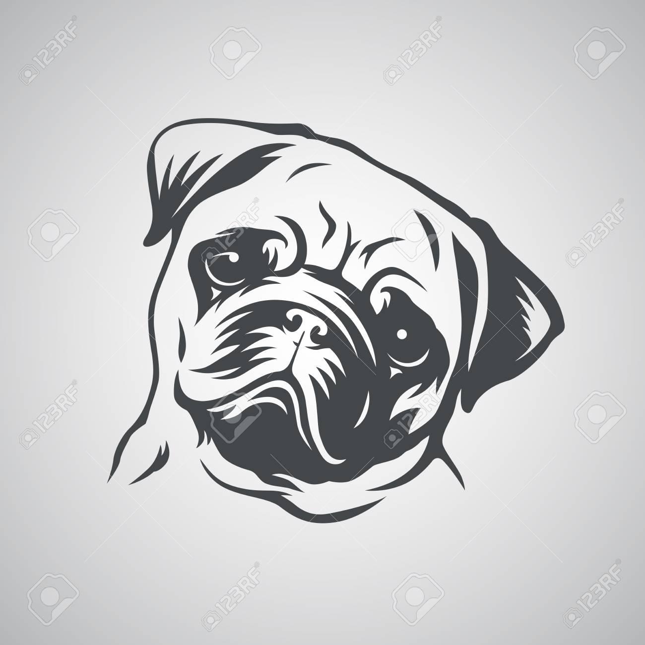 cute pug dog head vector illustration royalty free cliparts vectors and stock illustration image 98116221 123rf com