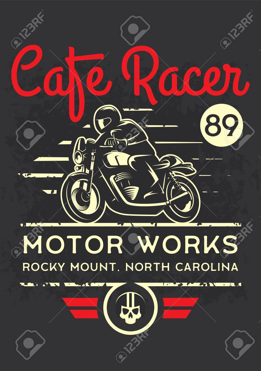 Classic Cafe Racer Motorcycle For Printing With Grunge Texture Royalty Free Cliparts Vectors And Stock Illustration Image 104891140