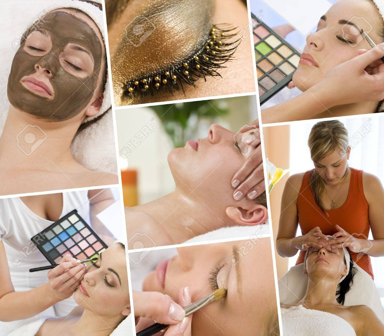 Montage of beautiful women relaxing at a health and beauty spa having massage treatments and their makeup applied by a beautician Stock Photo - 15587579