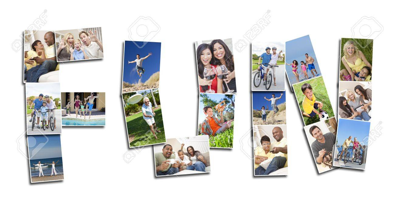 Active people men women and children playing laughing and having fun in summer and winter. Running, swimming, cycling, jumping and being active, the montage spells the word FUN Stock Photo - 15941720