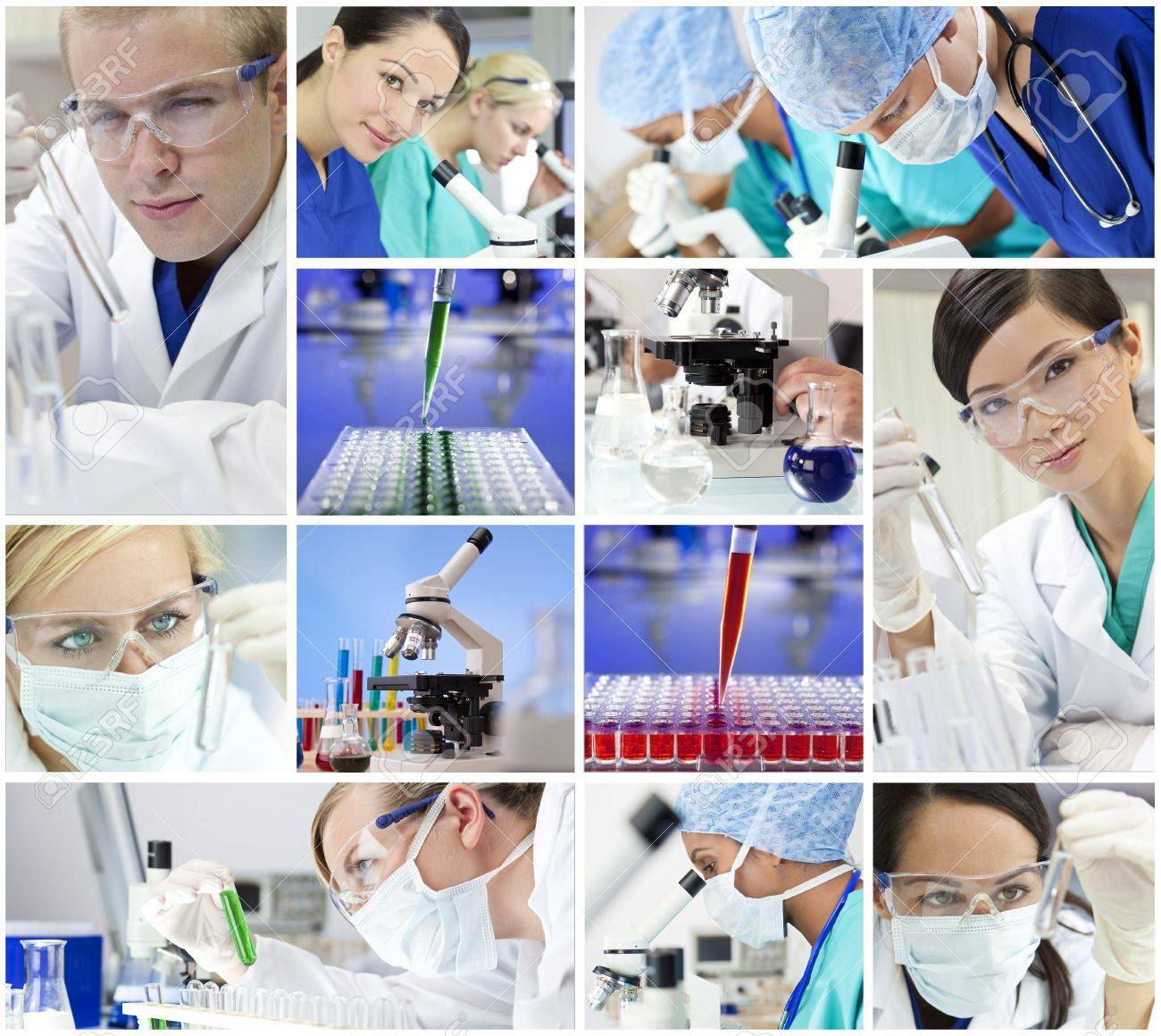 Montage of a medical or scientific research team men and women using microscopes and looking at test tubes in a laboratory Stock Photo - 16782705