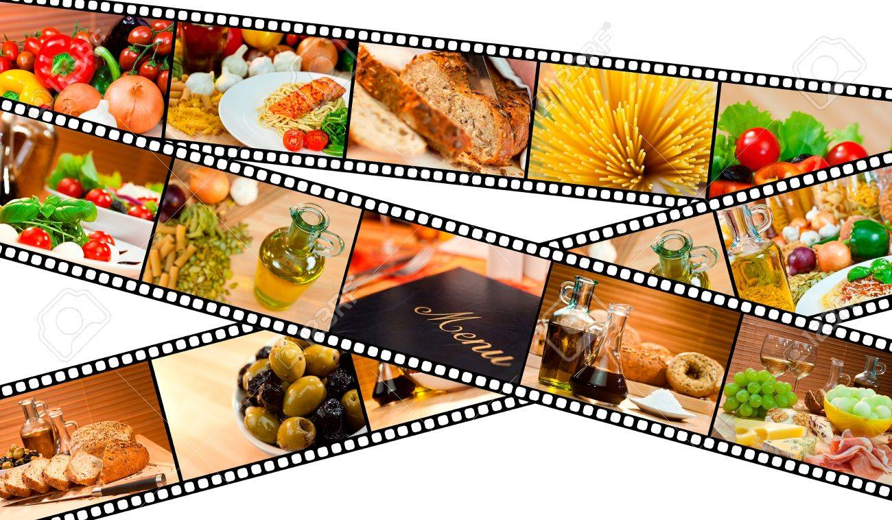 A film strip montage macro photographs of fresh gourmet food and a menu with pasta bread salad olives cheese ham melon spaghetti vegetables oil &amp, Balsamic vinegar Stock Photo - 17304498