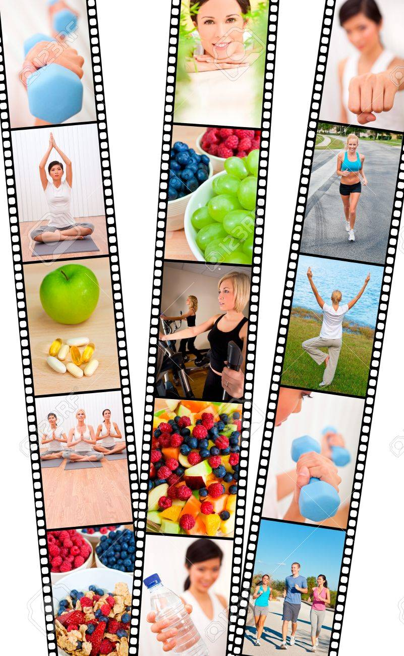 Film strip montage of fresh fruit, healthy food & water & women and men, healthy lifestyle sport exercising, yoga, working out with weights, cross trainer and running Stock Photo - 17286180