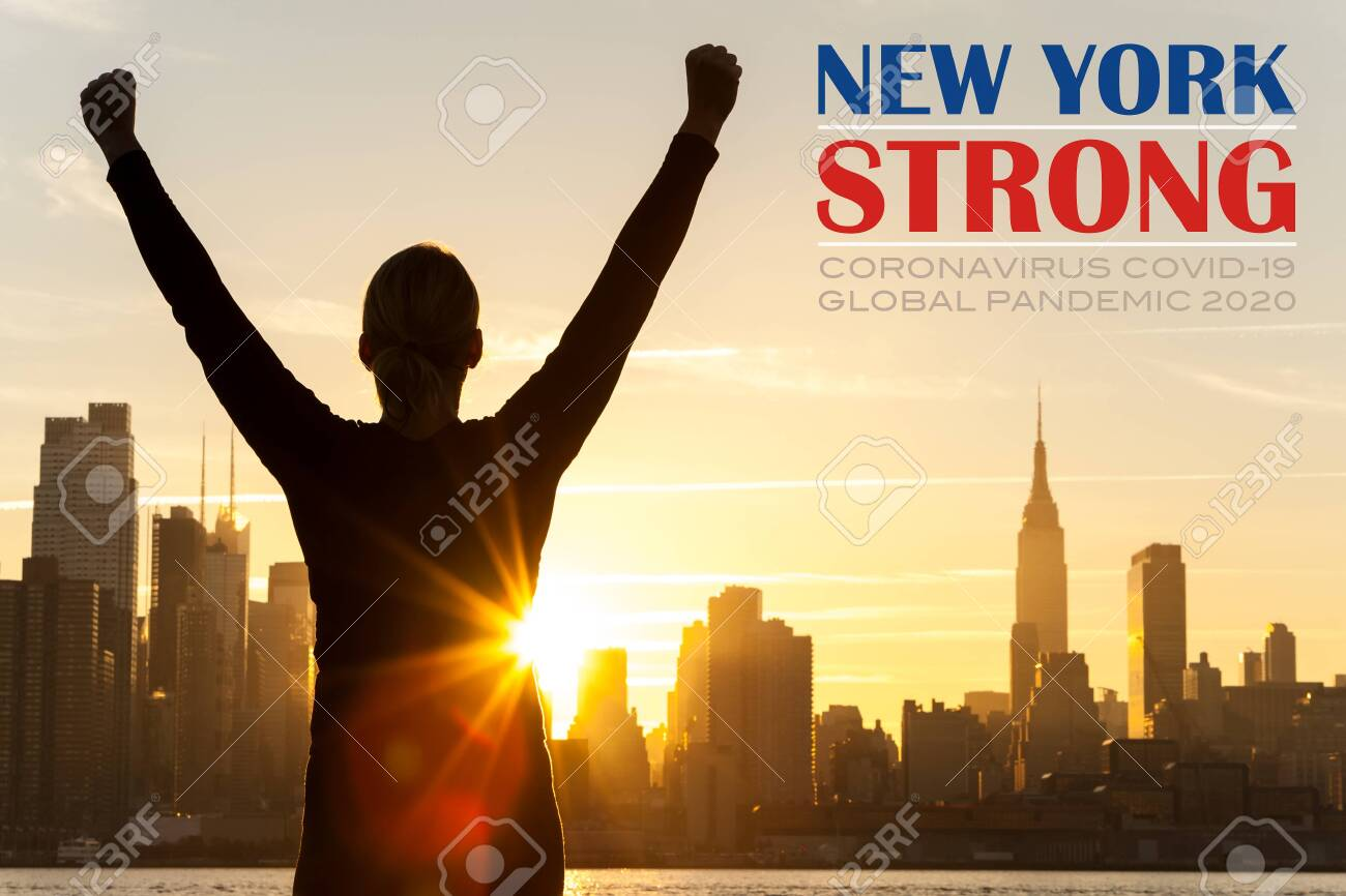 Silhouette of a successful woman or girl arms raised celebrating at sunrise or sunset in front of the New York City Skyline with New York Strong Coronavirus COVID-19 Global Pandemic 2020 text - 144988665