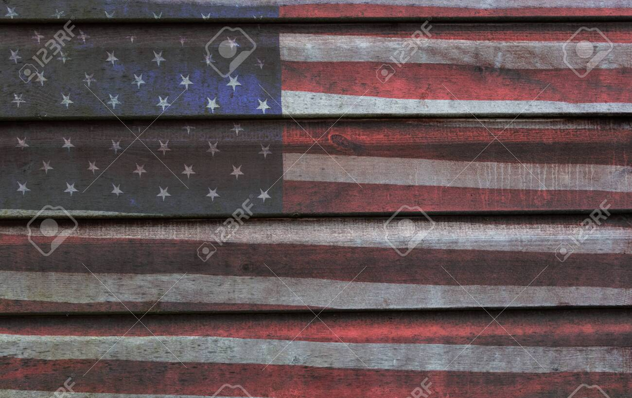 Photomerged background of American flag, USA stars and stripes, with wooden planks fence or panelling background - 150640191