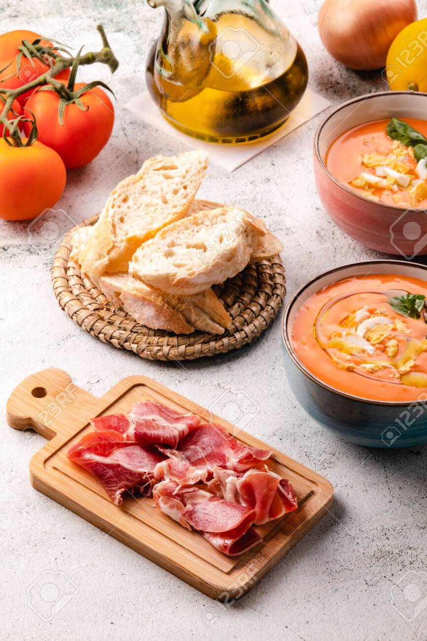 Salmorejo Soup With Ham And Eggs In A Bowl - 144988739