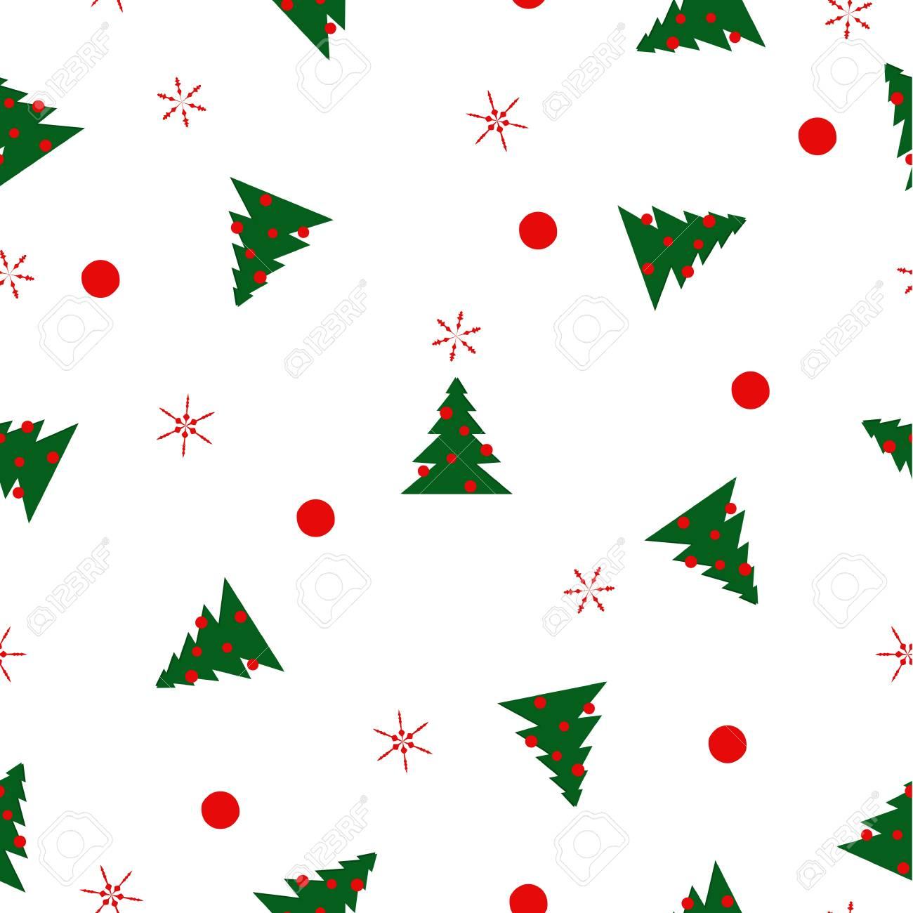 Patrón Sin Costuras Verdes Abetos De Navidad Con Bolas Rojas, Copos ...