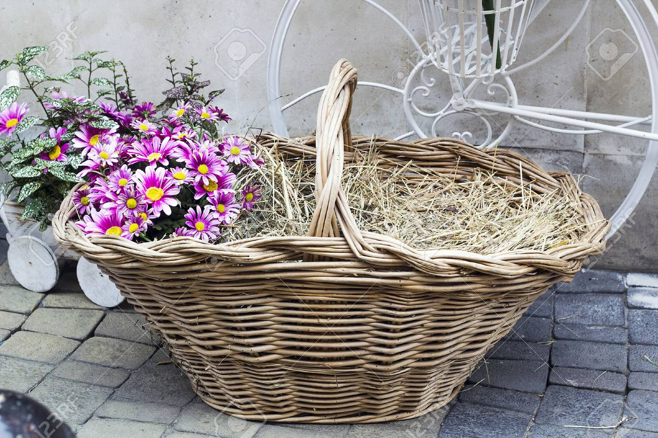 Wicker basket with dry hay and pink flowers, garden decoration