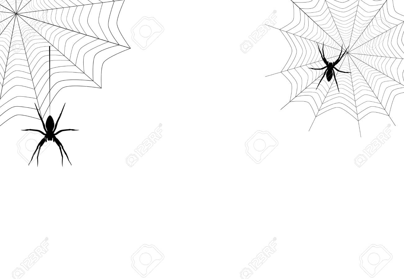 Spiders Black Silhouette Hanging On Corner Web Isolated On White