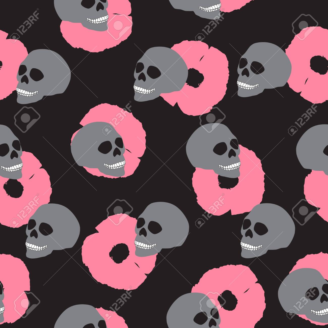 Seamless Pattern Gray Human Skull Pink Flowers On Black