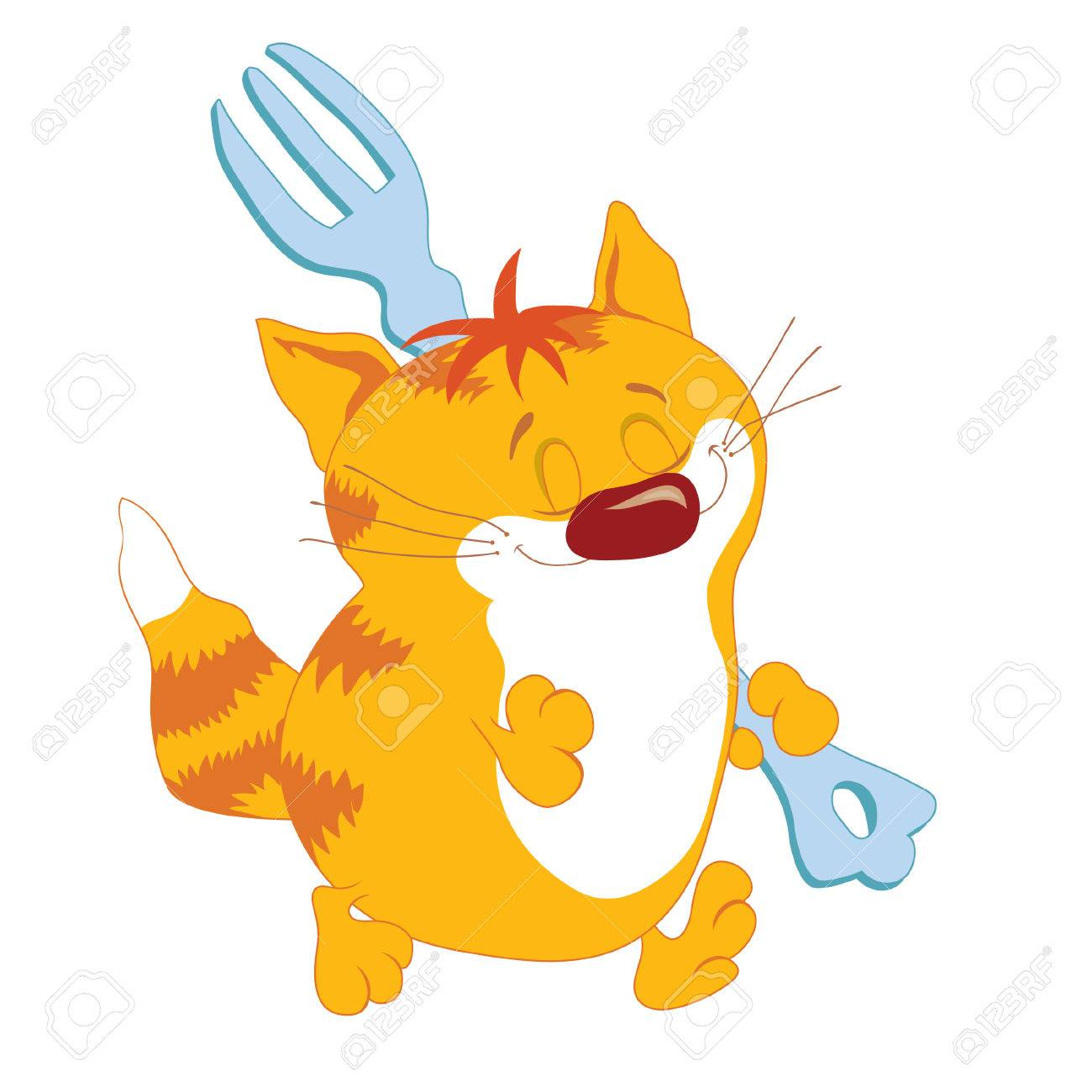 Red cat with fork going Stock Vector - 2774680