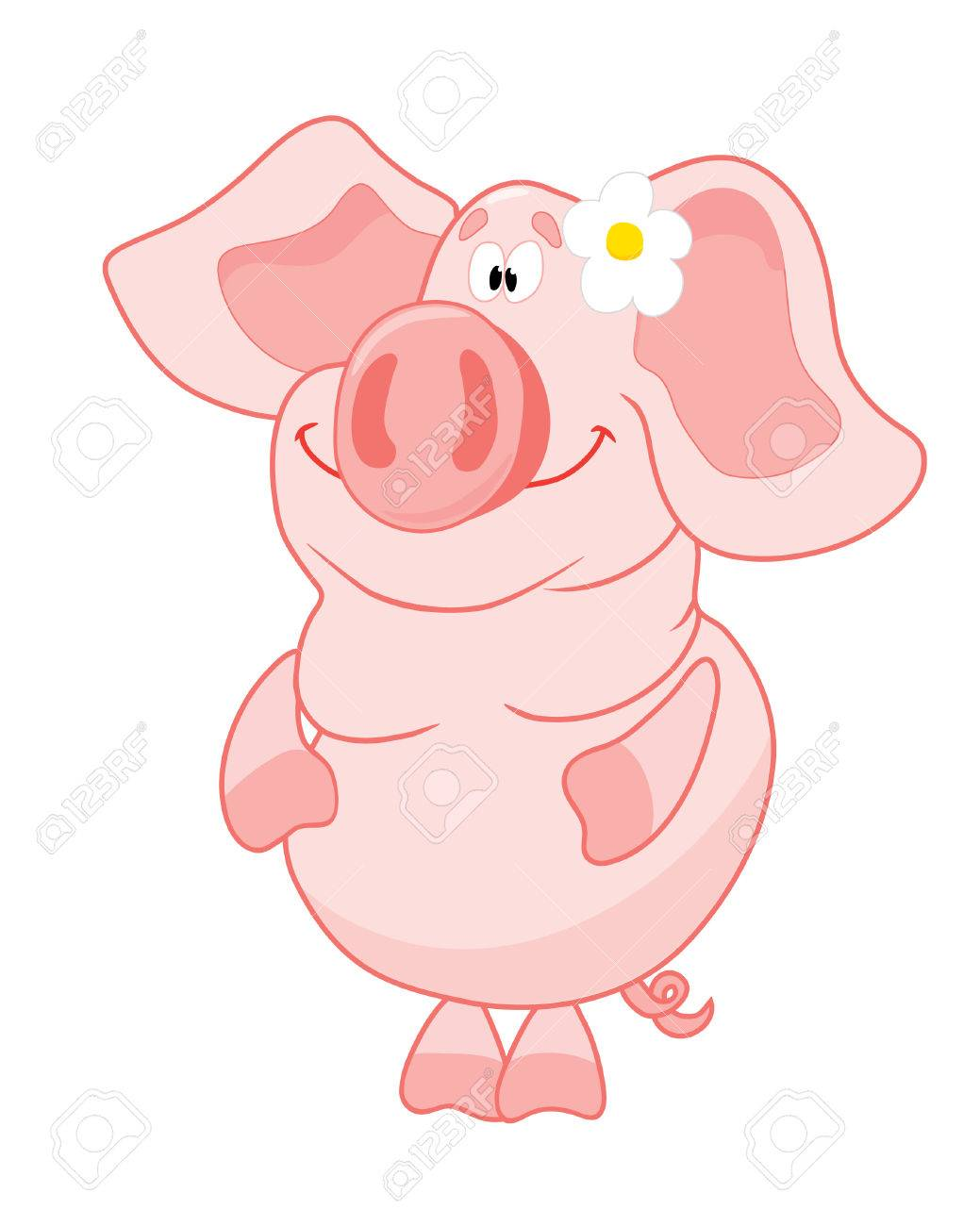 Funny pig with flower Stock Vector - 2918687