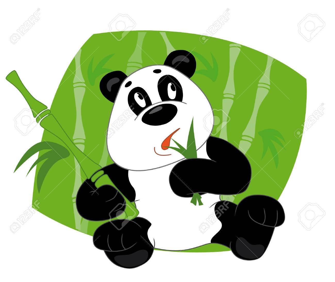 Panda eats leaves bamboo Stock Vector - 3236050