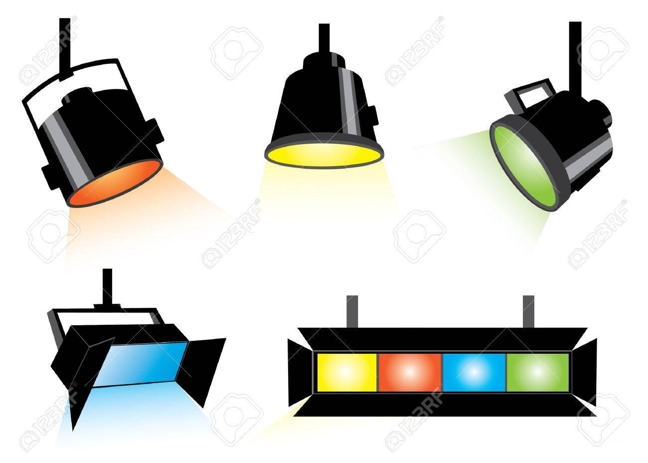 Five colored spotlights Stock Vector - 3839538