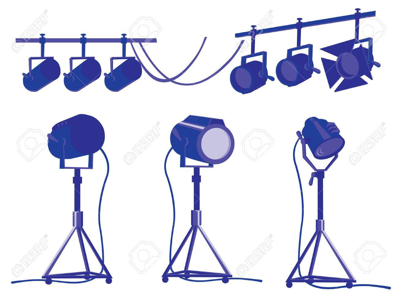 Spotlights for cinema and theater Stock Vector - 5506202