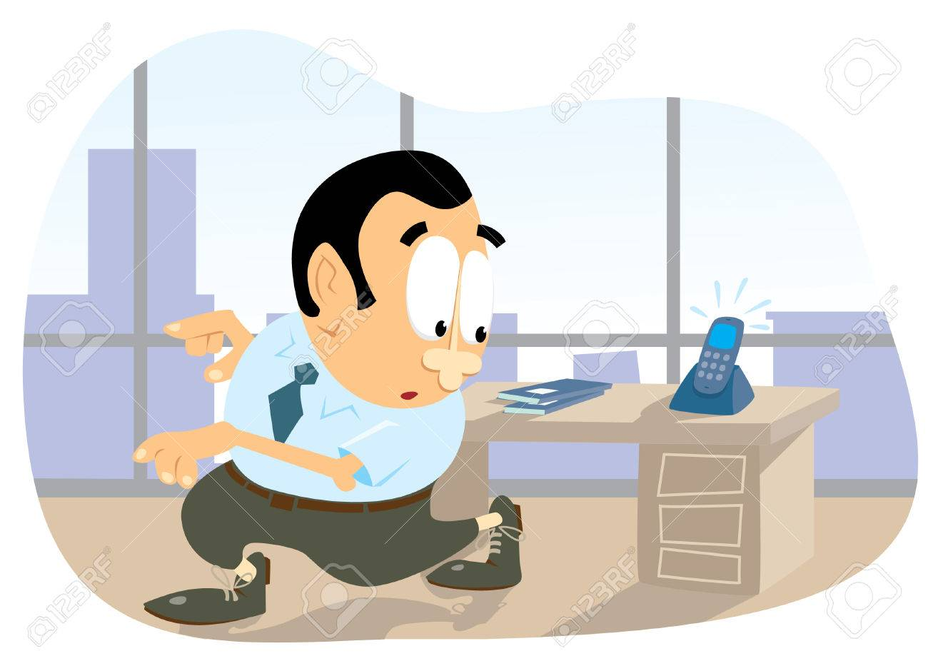 office clerk fleeing from a phone call royalty cliparts office clerk fleeing from a phone call stock vector 6188746