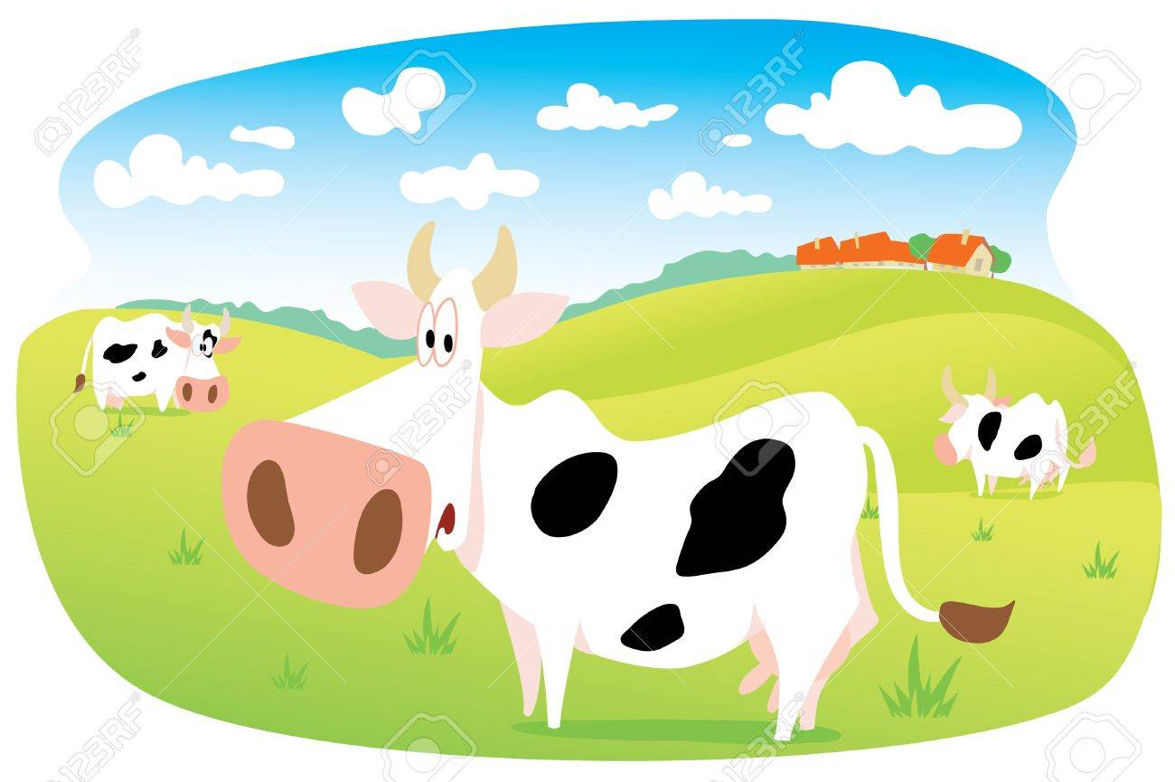 Cows in the Meadow Stock Vector - 14530281