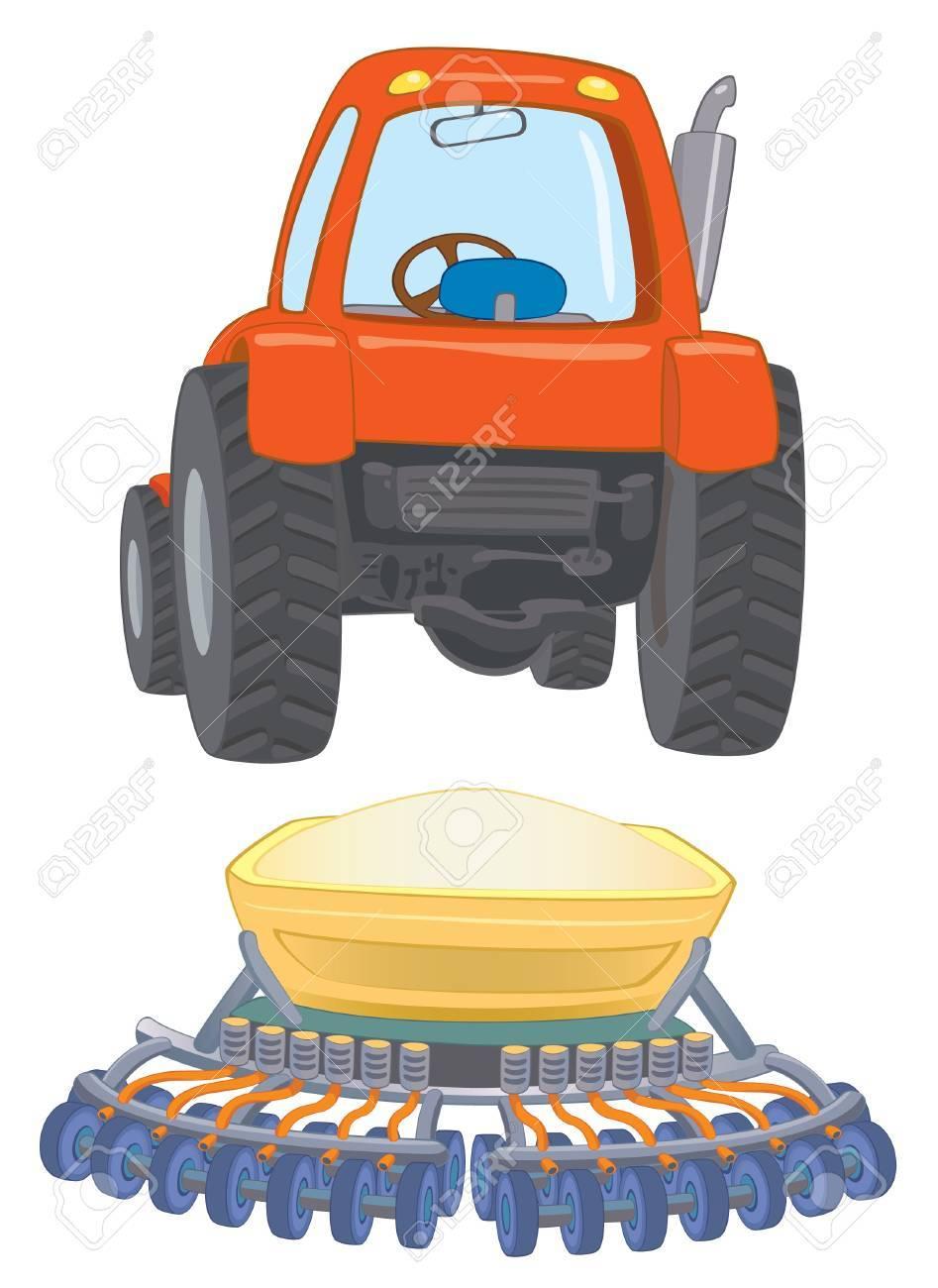 farm travctor with planter Stock Vector - 14530282