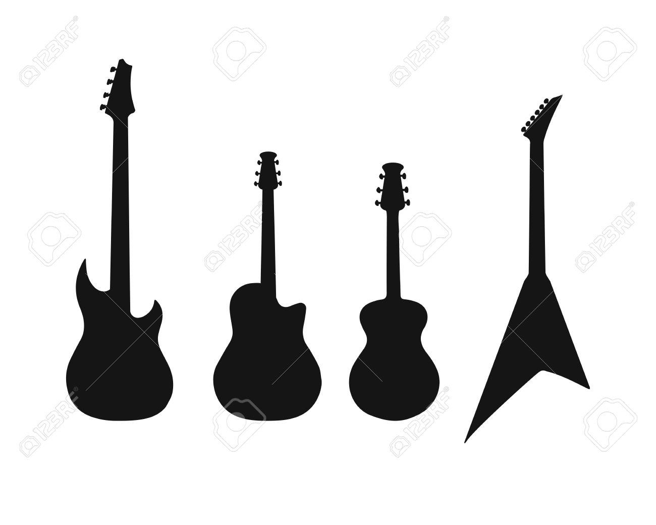 Um Conjunto De Silhuetas De Várias Guitarras Baixo Guitarra Elétrica Acústica