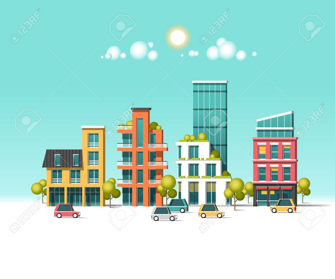 Green energy and eco friendly city flat vector illustration. - 83693585