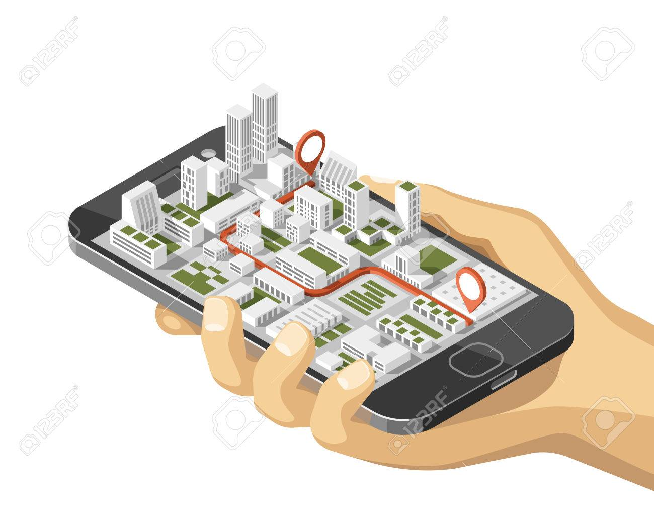 Mobile gps and tracking concept. Location track app on touchscreen smartphone, on isometric city map background. 3d vector illustration. - 83995611
