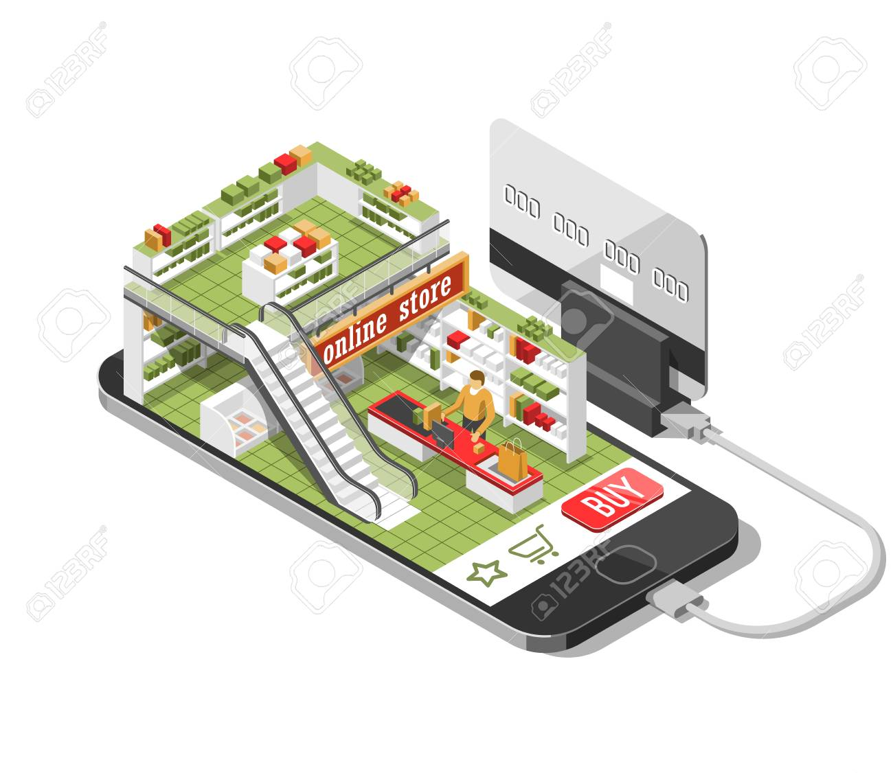 d1cb997d479 Online Shopping Isometric Shadow Illustration With Mobile Phone ...