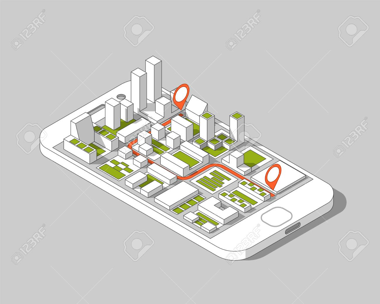 Mobile gps and tracking concept  Location track app on touchscreen