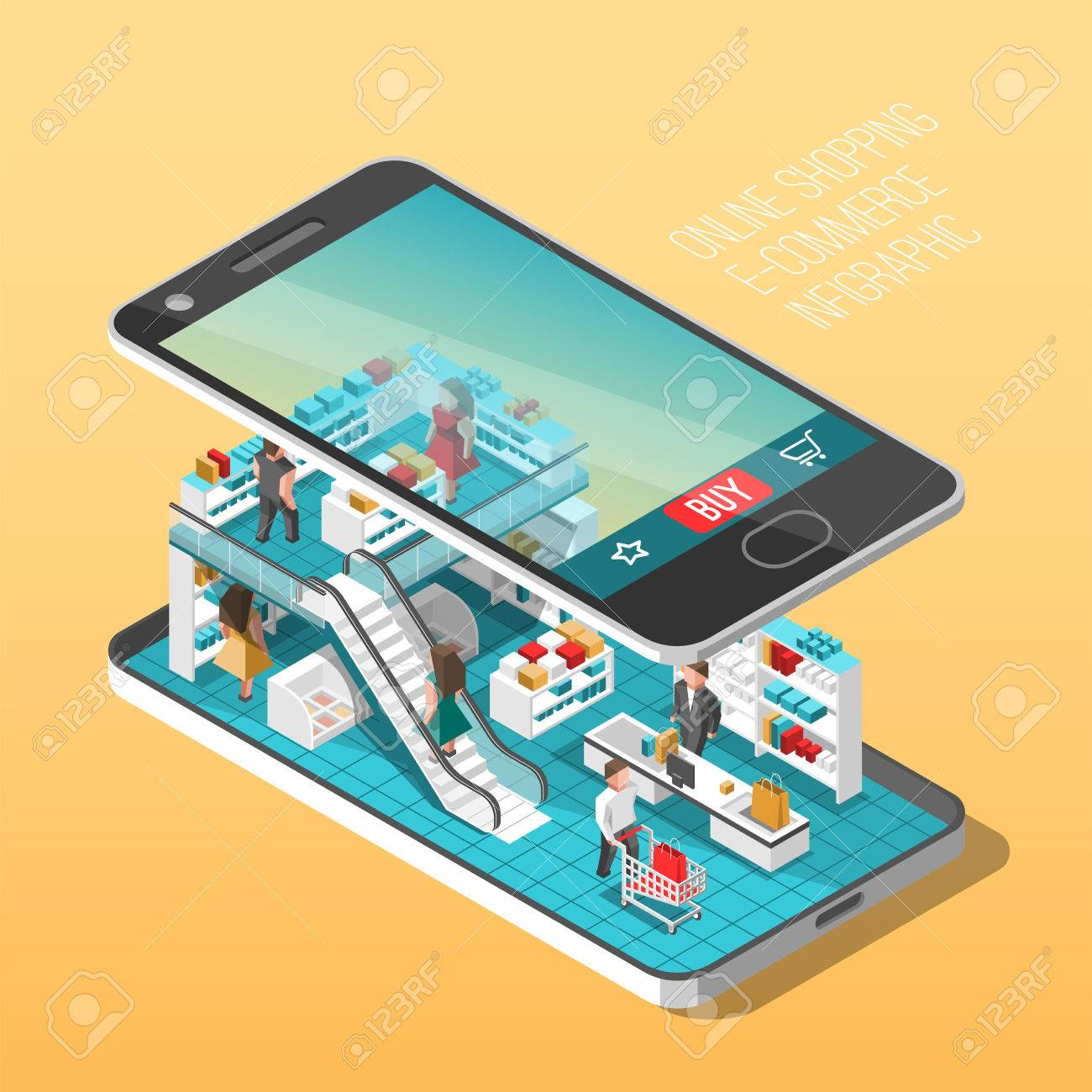 8de168d9cbe Online shopping isometric shadow illustration with mobile phone stores  orders isolated vector illustration Stock Vector -