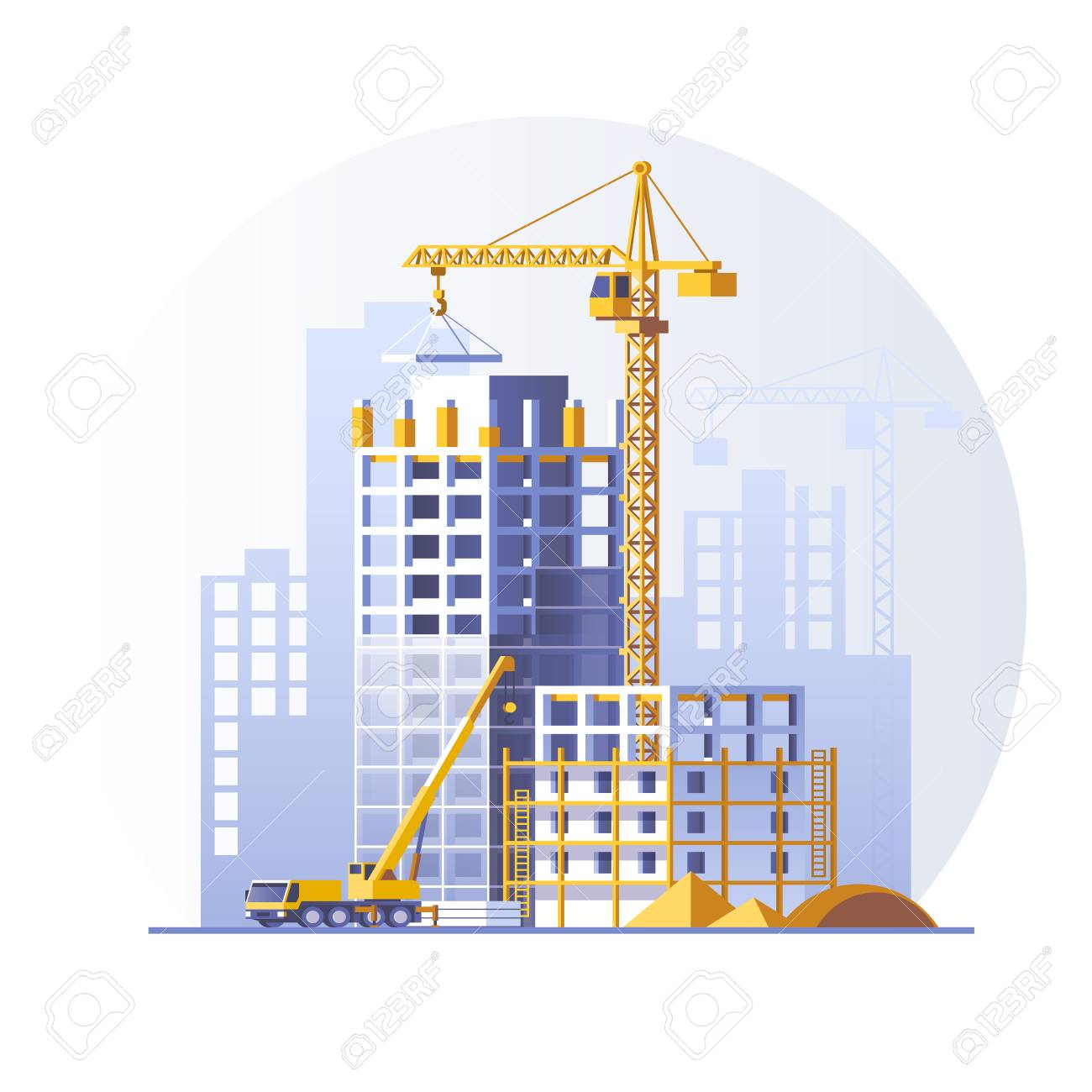 Construction of residential buildings. Construction site concept design. Flat style vector illustration. - 87860627