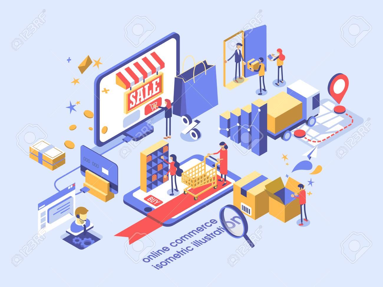 Electronic commerce online concept isometric illustration. - 90659816