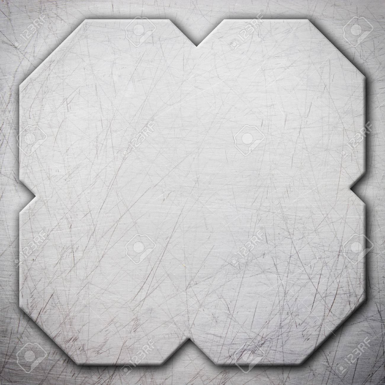 Placa de acero cuadrada, marco de acero como fondo para el diseño