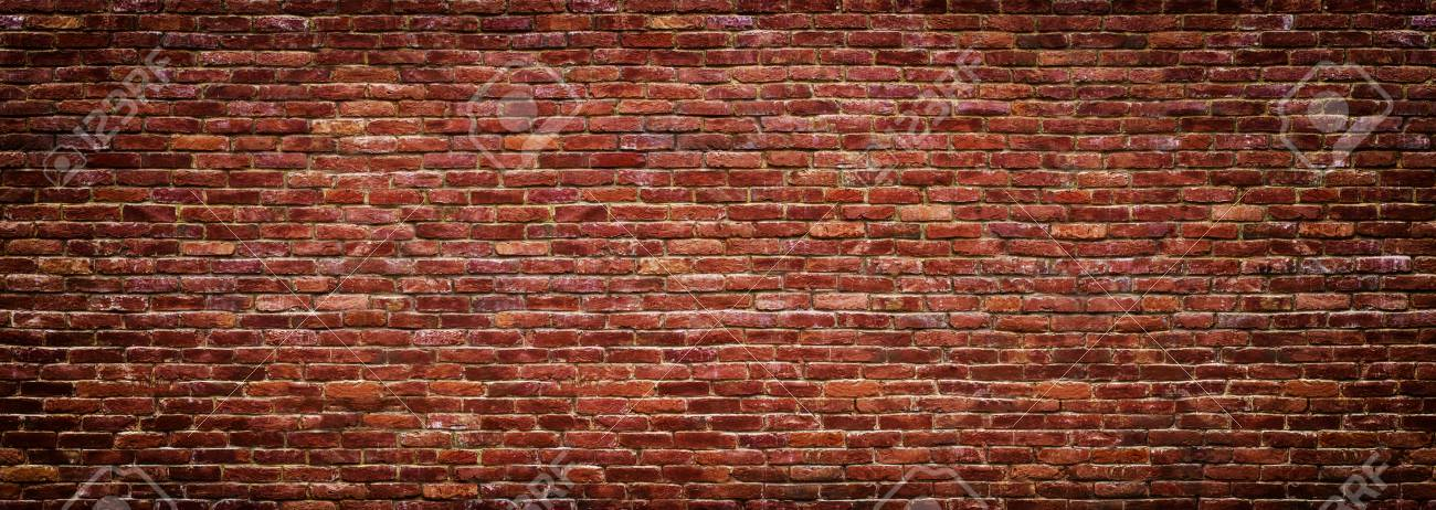 brick wall of red color, wide panorama of masonry - 75374275