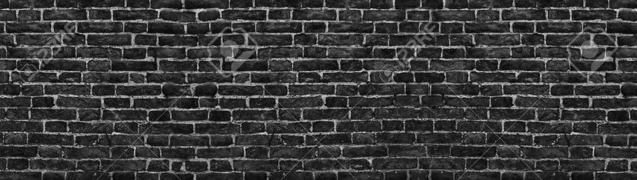 Panorama Black Brick Wall Background High Resolution