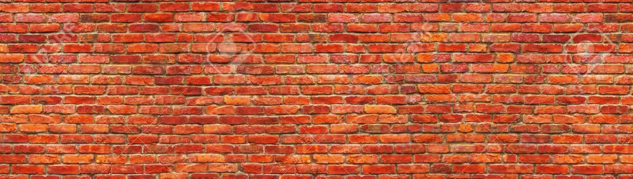 Grunge brick wall, old brickwork panoramic view. - 83921713