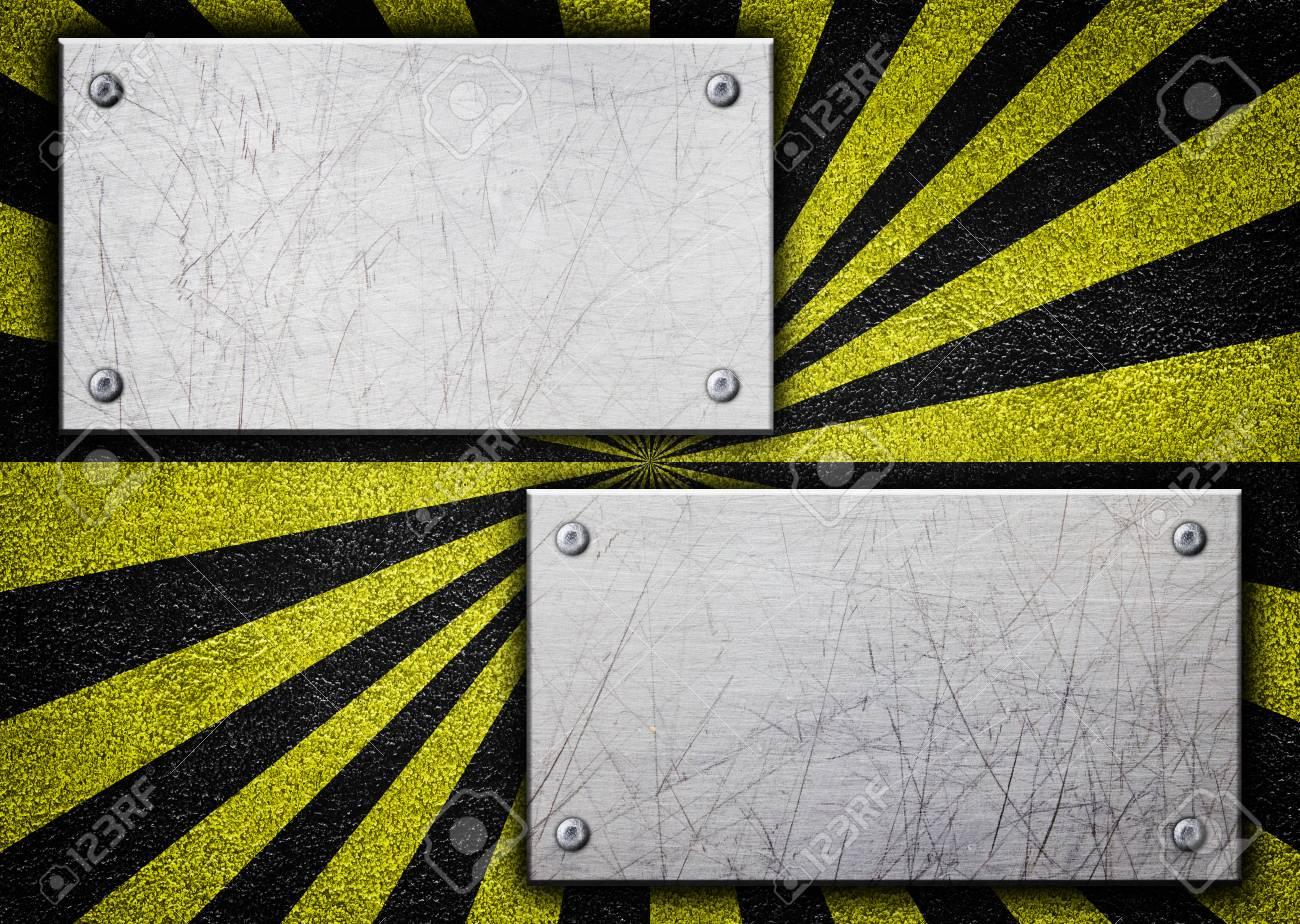 Metall Hintergrund Mit Warnung Färbung Schwarz Und Gelb, 3D ...