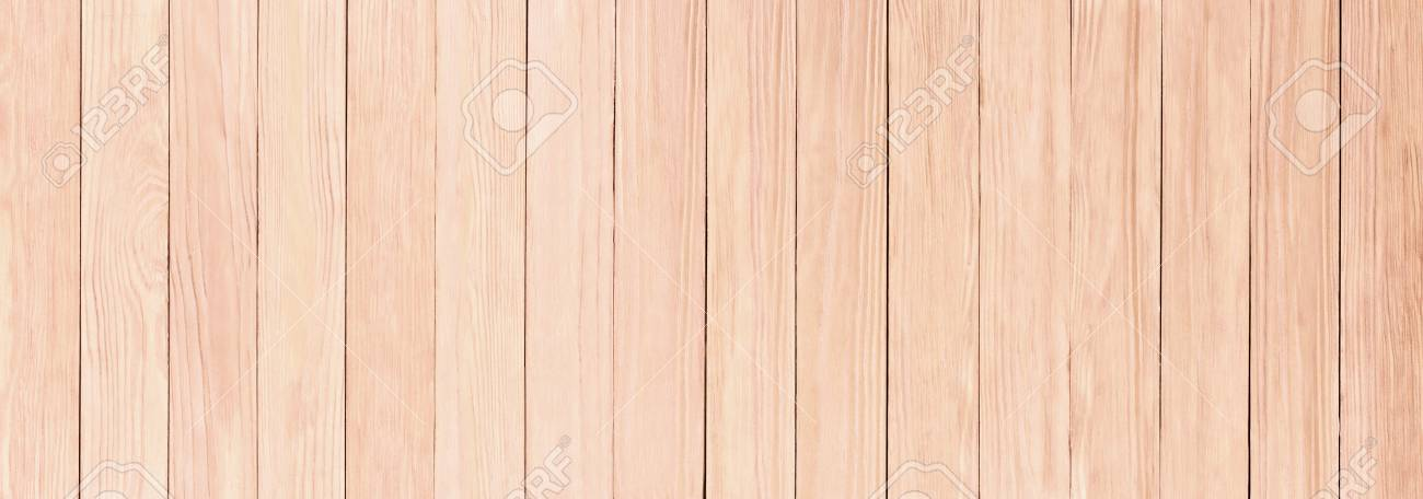 Panorama Of Light Wooden Texture Desktop Background Stock Photo