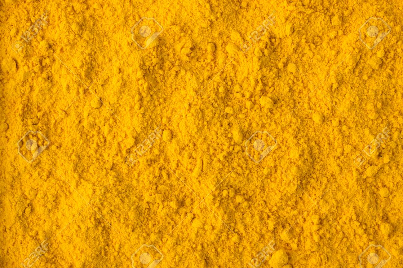texture of saffron powder close-up, spice or seasoning as background - 97392010