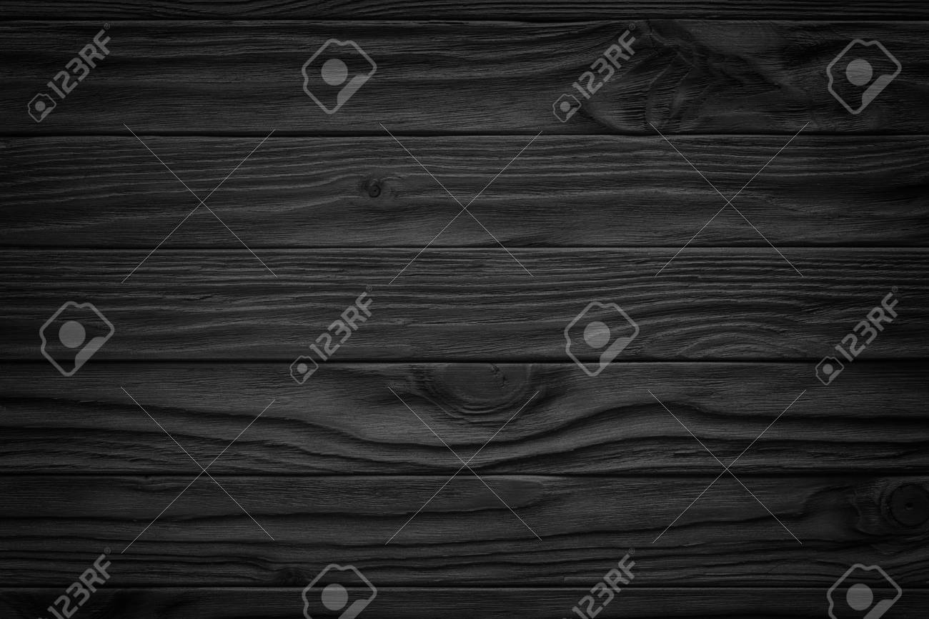 Black wooden plank, tabletop, floor surface or chopping, dark wood texture - 97487349