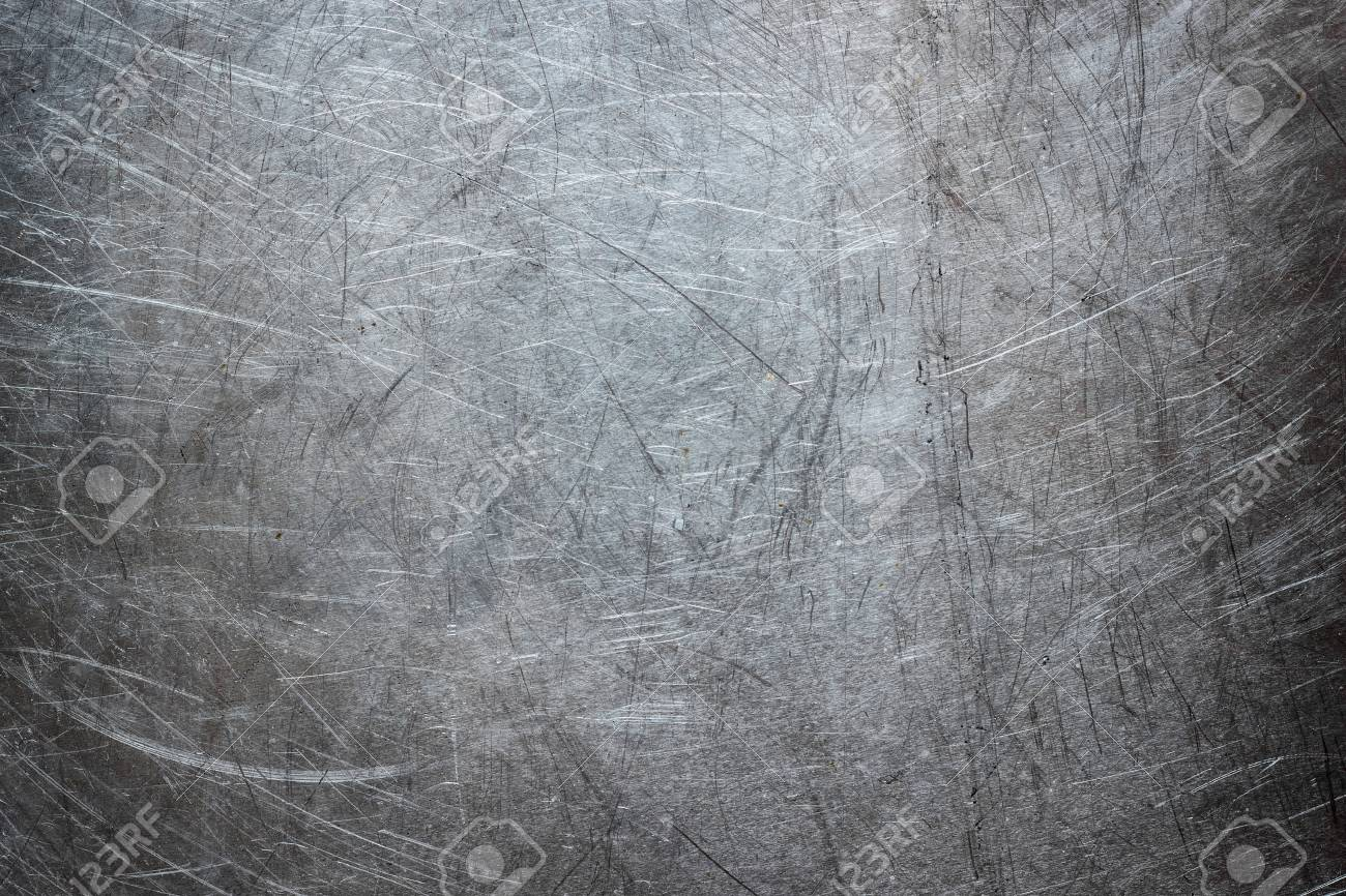 Stock Photo - Texture of stainless steel wallpaper, background of metal with scuffs