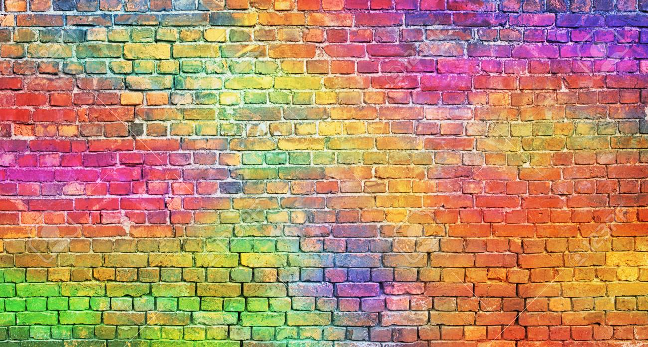 painted brick wall, abstract background of different colors - 110230976
