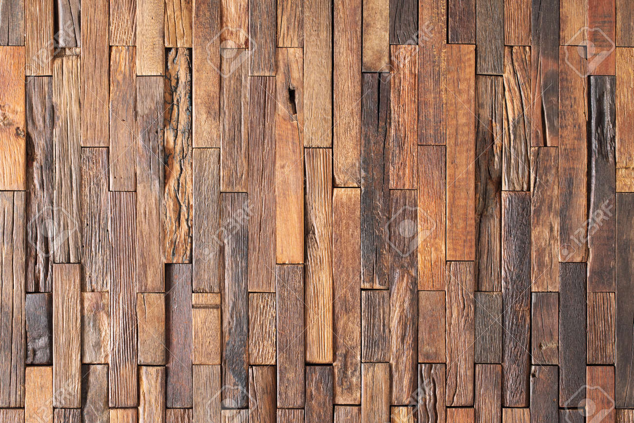 brown pieces of planks lined with wood wall panel. wood background - 172598835