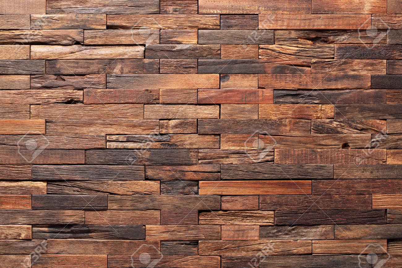 interior wooden wall background, wood texture mosaic boards - 173087048