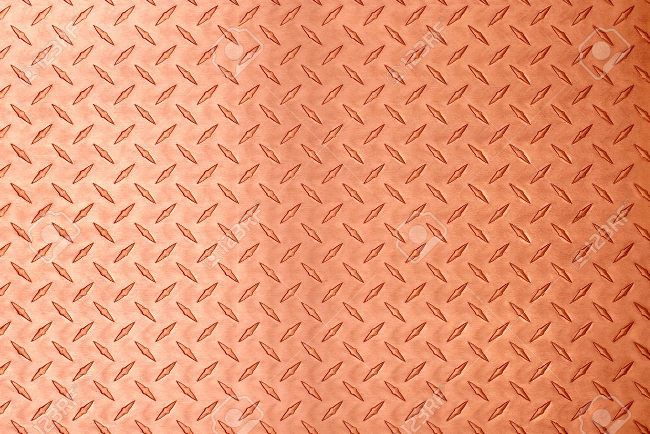 copper metal texture with diamond embossed. bronze plate background - 173329692