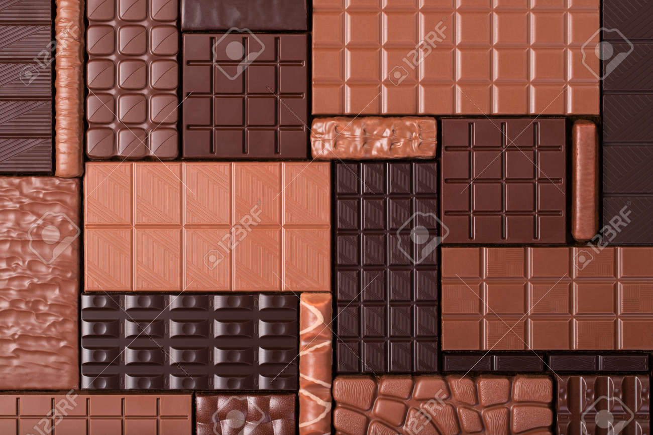 pile chocolate bars, top view. sweet food background - 173353918