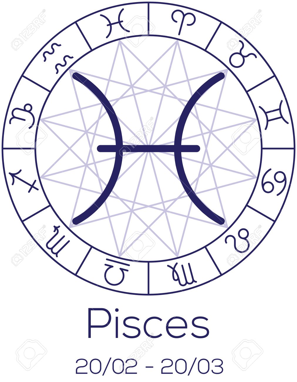 Zodiac sign pisces astrological symbol in wheel with polygonal astrological symbol in wheel with polygonal background astrology chart in nvjuhfo Gallery