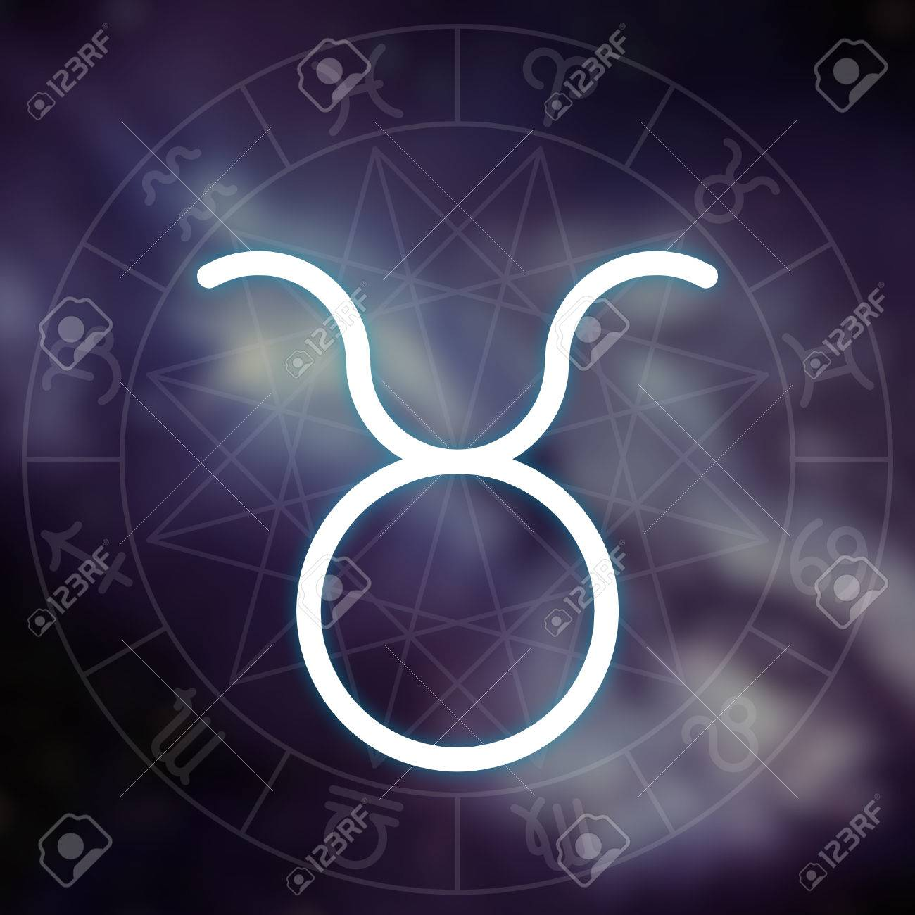 Zodiac Sign Taurus White Thin Simple Line Astrological Symbol