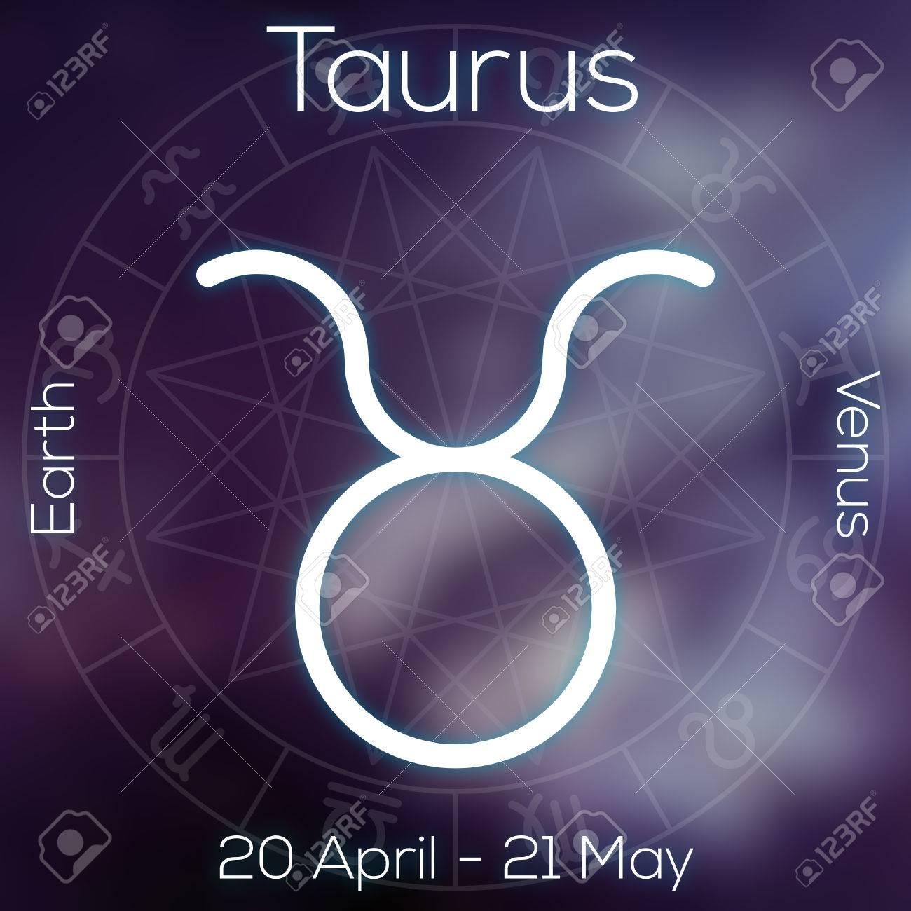 Banque d images - Signe du zodiaque - Taureau. Ligne blanche symbole  astrologique avec la légende, les dates, la planète et élément sur flou  fond abstrait ... f08a8dccb6d